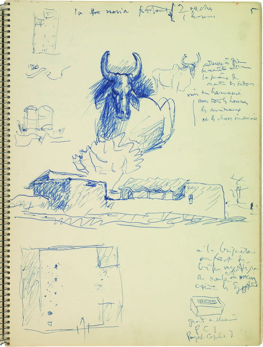 Le Corbusier, sketch of bulls and peasant houses near Chandigarh, dated March 1951.  Album Simla, Punjab, India, Chandigarh Capitol Project, blue ink on album paper, 18.5 x 13.8 cm (71/4 x 51/2 in). Image © Fondation Le Corbusier, Paris