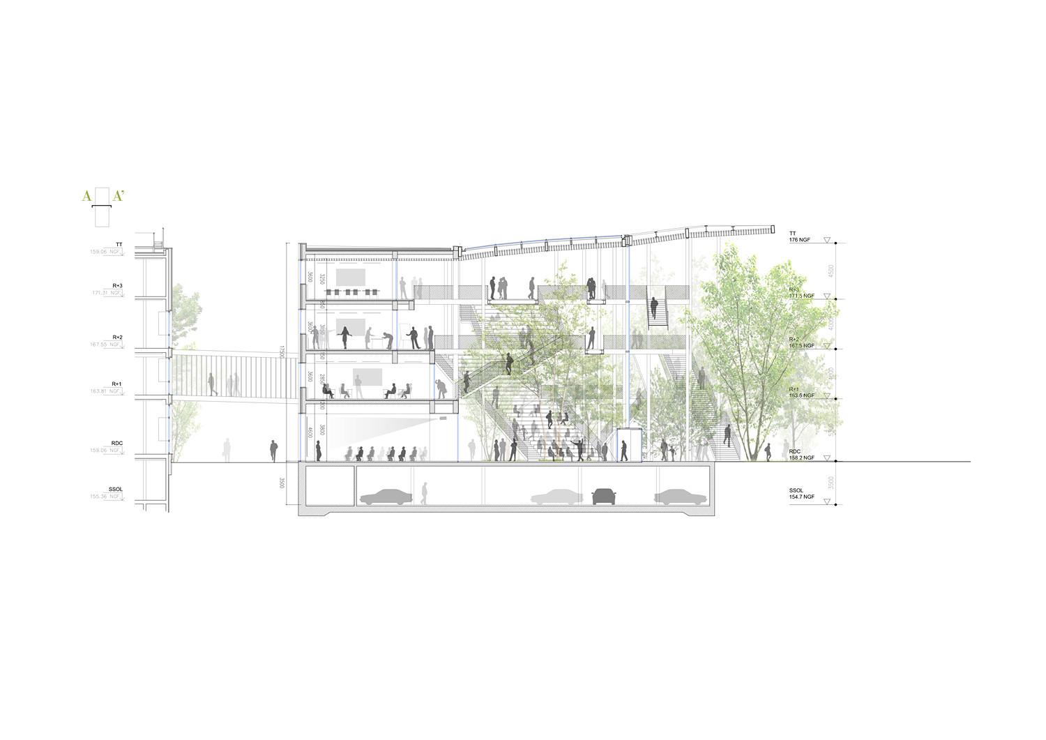 Section. Image Courtesy of Sou Fujimoto Architects, Manal Rachdi OXO Architects and Nicolas Laisné Associates