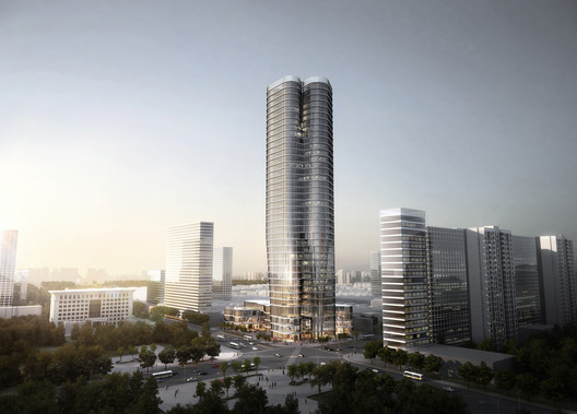 The tower forms a new landmark within this fast developing city in China. Image Courtesy of Urban Systems Office