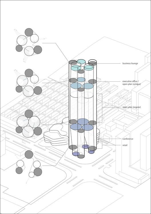 Los espacios varía a medida que se aumenta en altura, creando un amplio rango de plantas para oficinas y conexiones visuales dentro del sitio. Imagen cortesía de Urban Systems Office