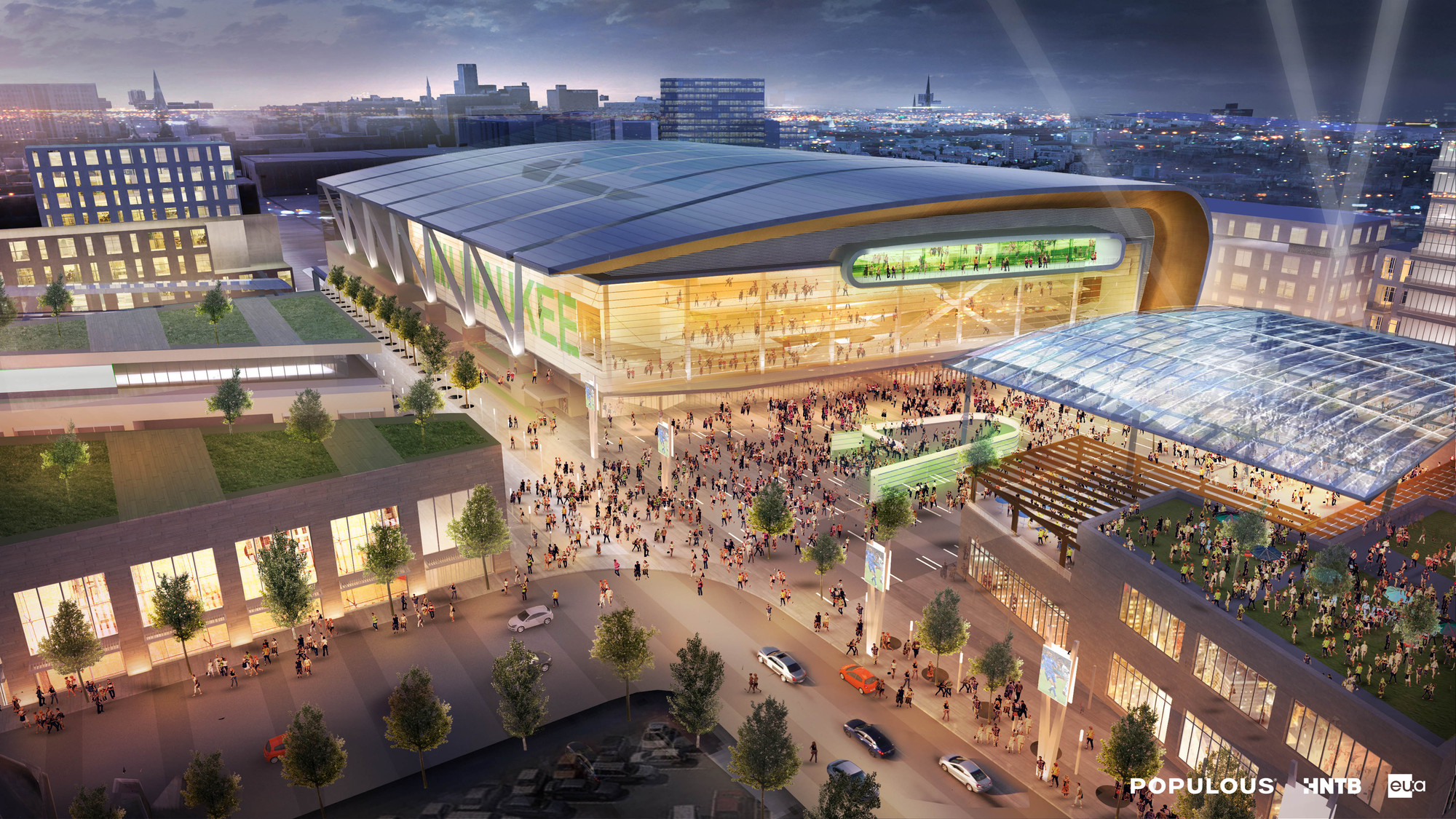 First Renderings of Populous' Downtown Milwaukee Stadium, View from Entertainment District Live Block. Image Courtesy of Populous