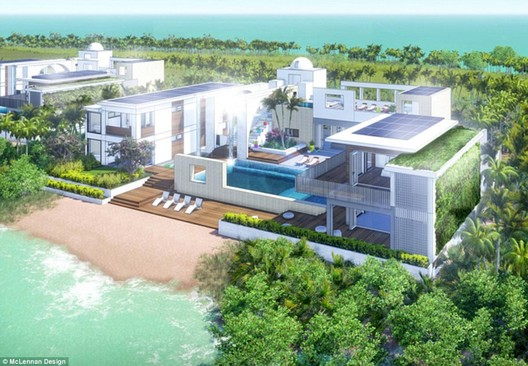 Rending of one of 48 private houses planned to be sold on the island. Image © McLennan Design via The New York Times