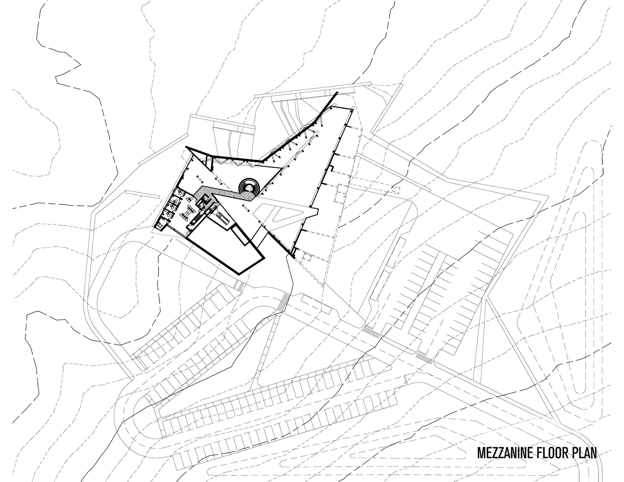 Gallery of philip j currie dinosaur museum teeple for Mezzanine floor plan