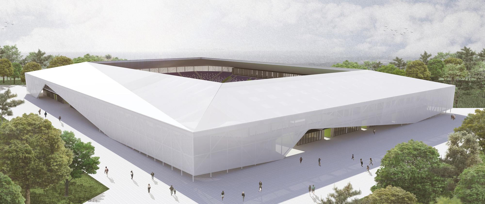 Rojas Böttner + Gajardo + Soto, primer lugar en concurso de ideas para nuevo estadio de Osorno en Chile, Vista diurna. Image Cortesia de Rojas Böttner + Gajardo + Soto