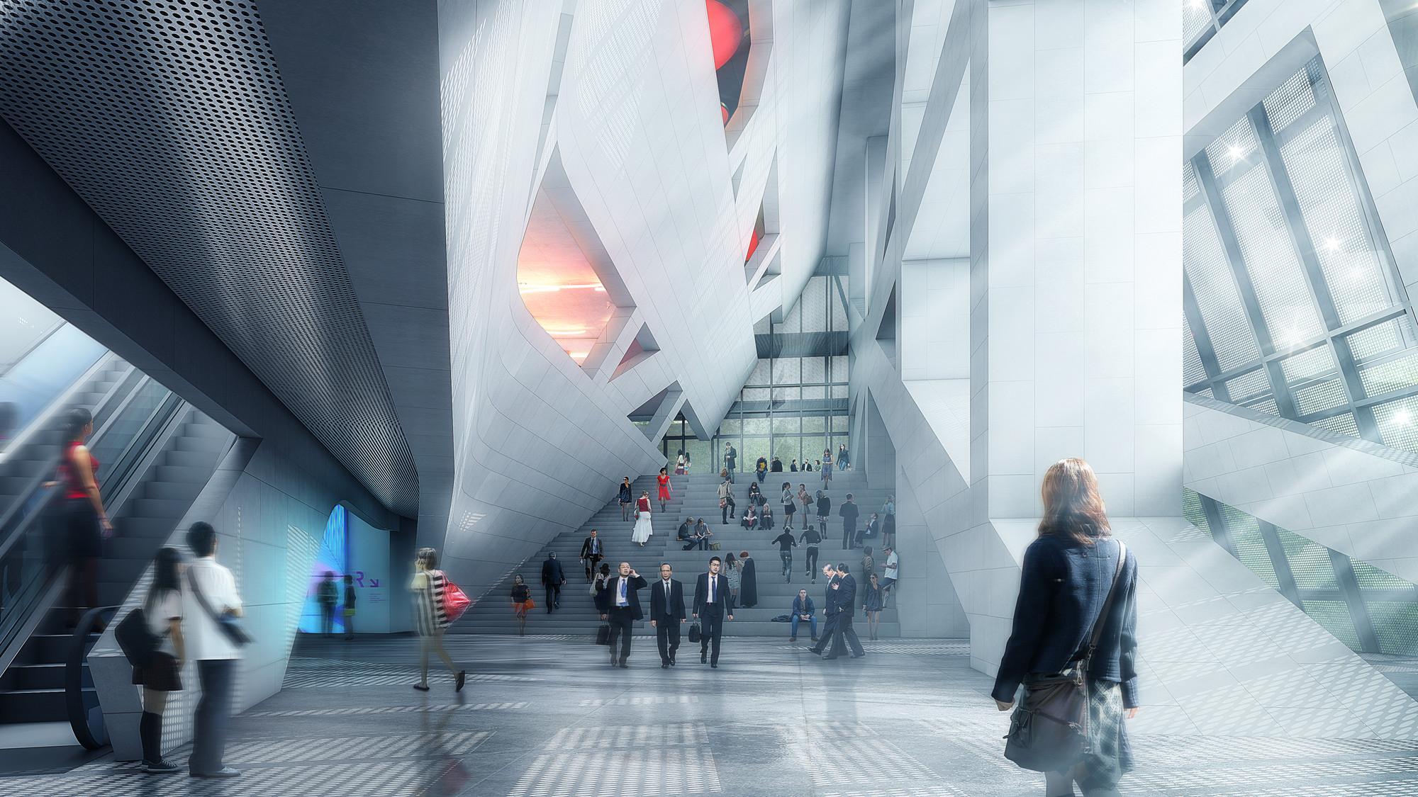 Lobby. Image © Luxigon, courtesy of Morphosis Architects