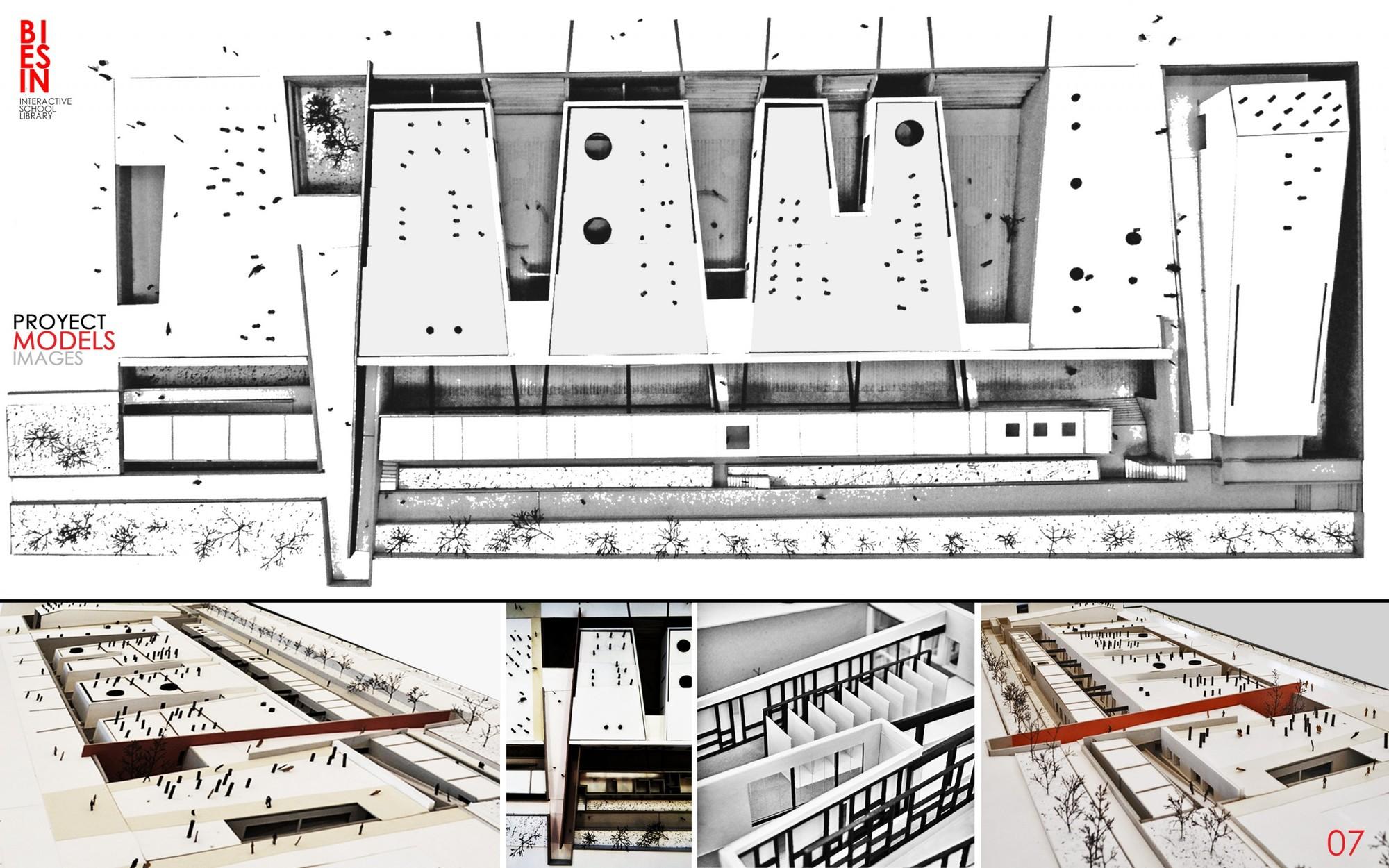 """Mención Honrosa: """"Biblioteca escolar interactiva"""". Image Cortesia de Archiprix Chile"""