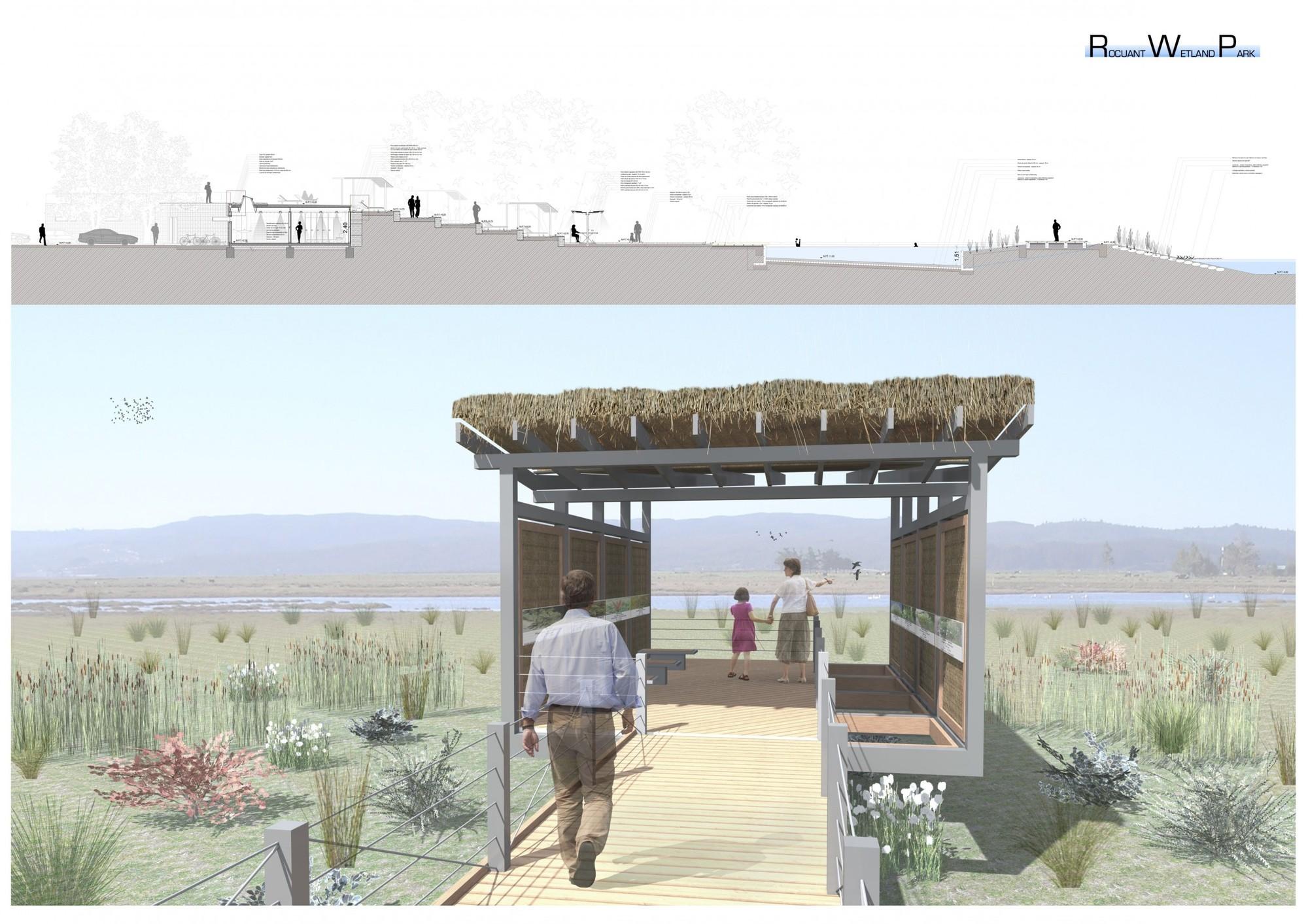 """Mención Honrosa: """"Parque Humedal Rocuant"""". Image Cortesia de Archiprix Chile"""