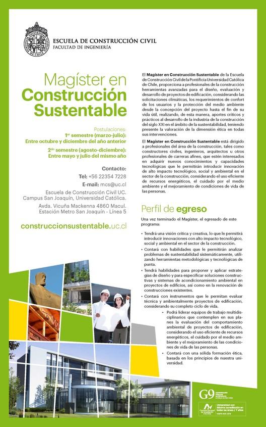 Cortesia de Magíster en Construcción Sustentable UC