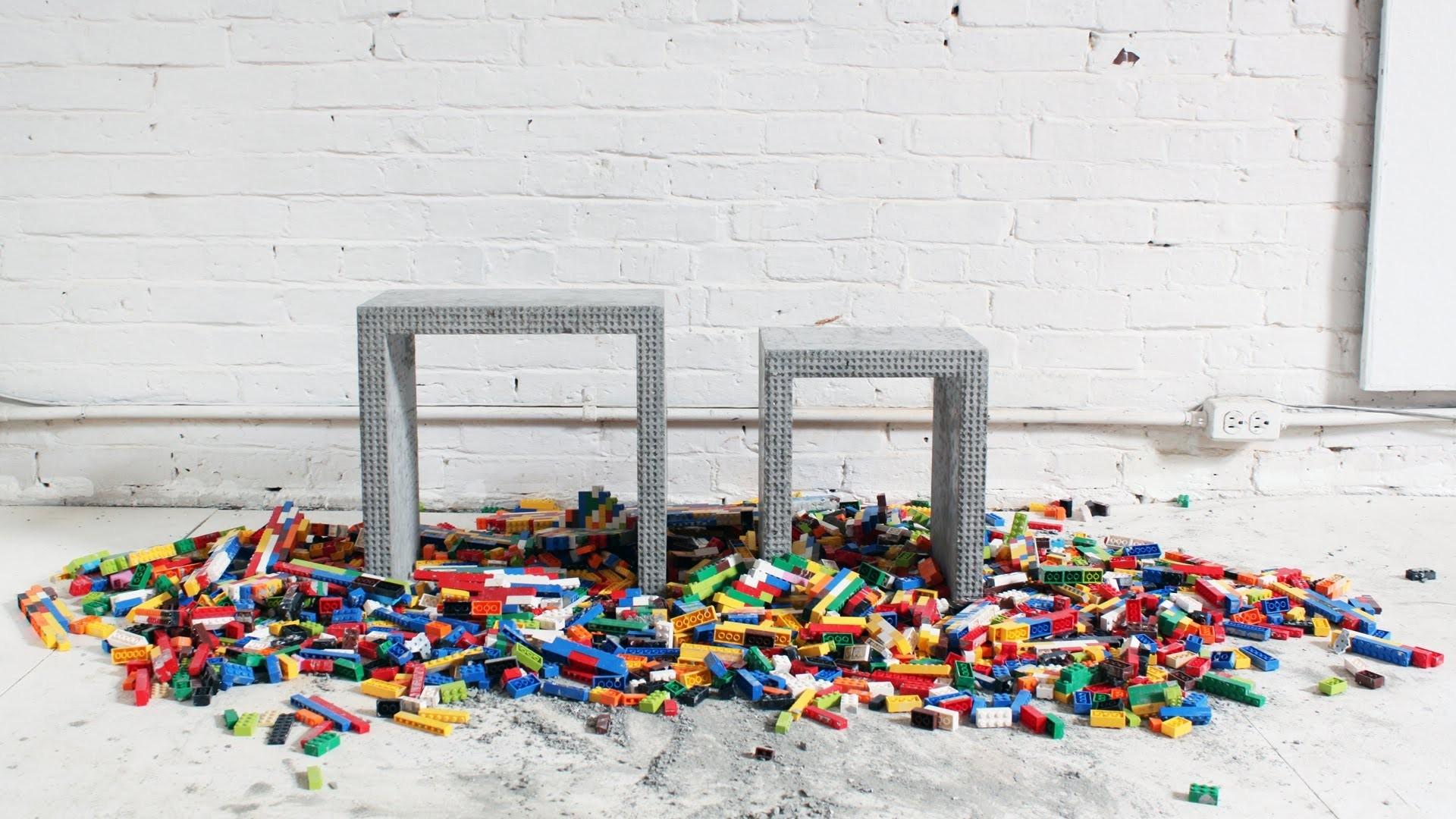 mobiliario jardim jumbo:Vídeo: Mobiliário de concreto usando formas de Lego