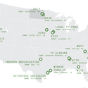 The locations of all 16 2000-foot-plus TV towers in the USA. Image Courtesy of Medium.com