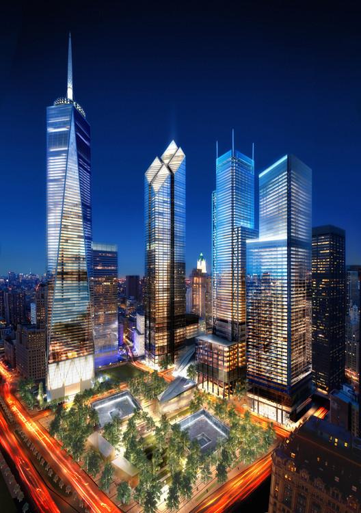 BIG rediseñaría torre originalmente propuesta porFoster + Partners para World Trade Center, Diseño original del WTC: la torre diseñada por Foster + Partners -WTC2- iba a ser la segunda desde la izquierda. Imagen © Silverstein Properties