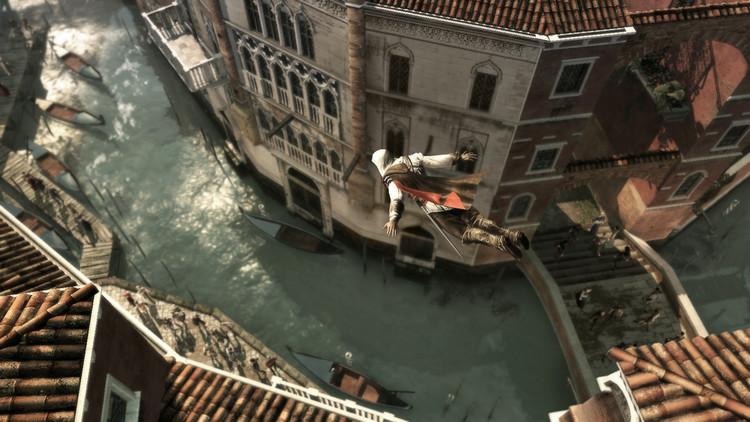 Ezio Auditore da Firenze saltando desde viviendas de cuatro alturas. Image © Ubisoft Montreal