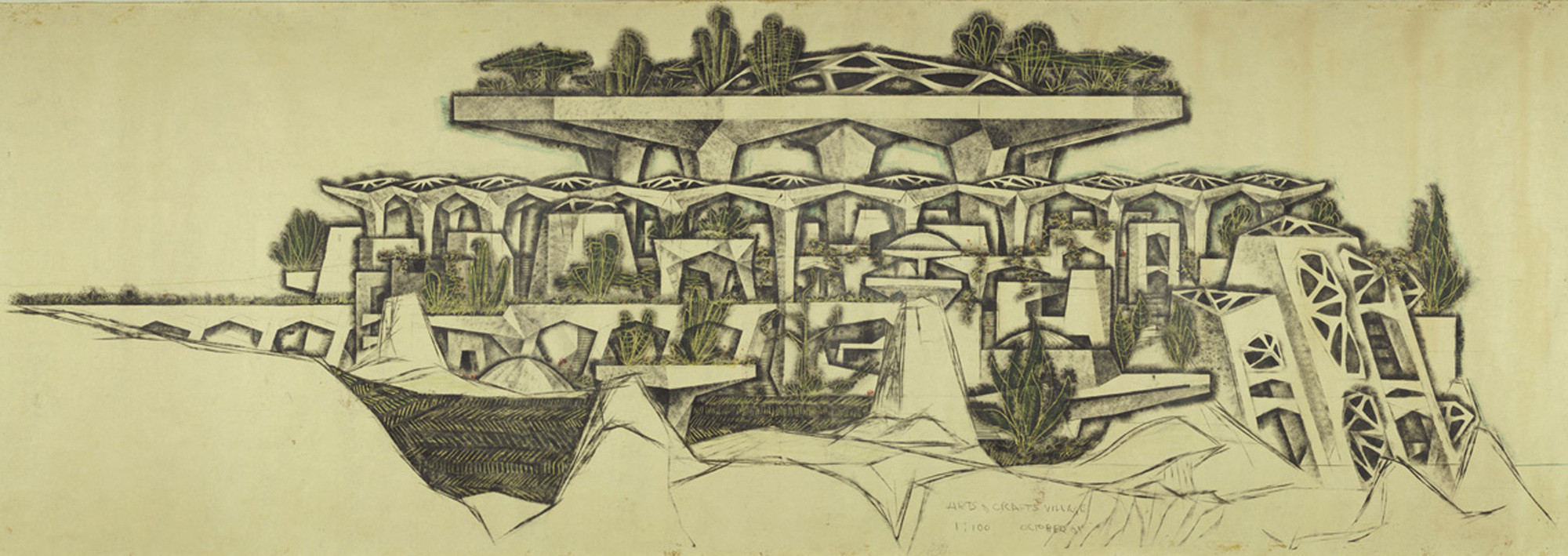 Remembering Paolo Soleri 1919-2013, Paolo Soleri, detail, Mesa City Market (Arts and Crafts), 1961. Pencil, Charcoal, pastel on paper. Collection of the Cosanti Foundation. © Paolo Soleri. Photo: Cosanti Foundation/Soleri Archives/David DeGomez