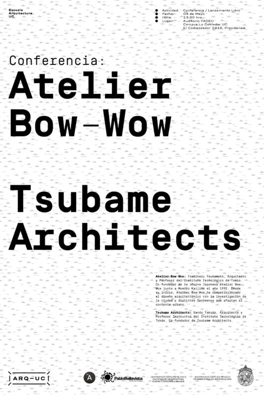 Conferencia de Yoshiharu Tsukamoto y lanzamiento del libro Atelier Bow-Wow / Santiago