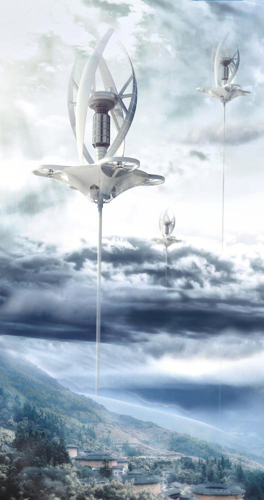 Capture Wind: A Wind Farm in the Tropopause / Jiaqi Sun, Chang Liu, Mingxuan Qin. Imagen cortesía de eVolo