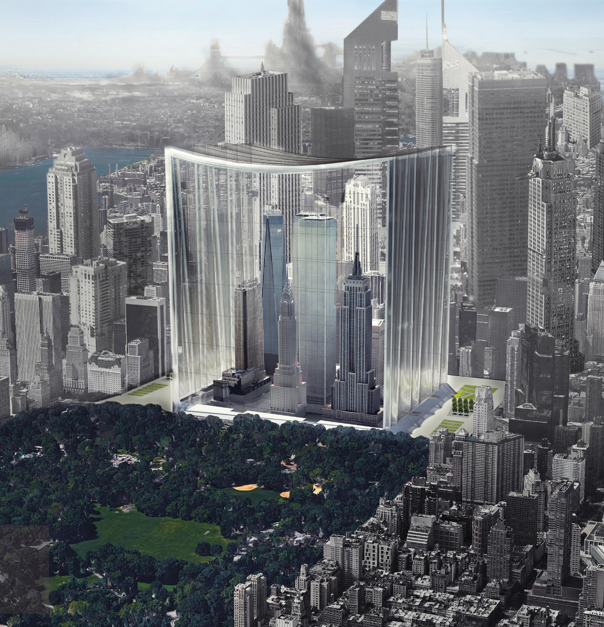 Elegy of Skyscrapers: Museum of Manhattan Skyscrapers / Yike Peng, Fan Wu, Youyi Wang. Imagen cortesía de eVolo