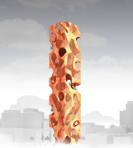 The Habitable Obelisk / Jun Hao Ong. Imagen cortesía de eVolo