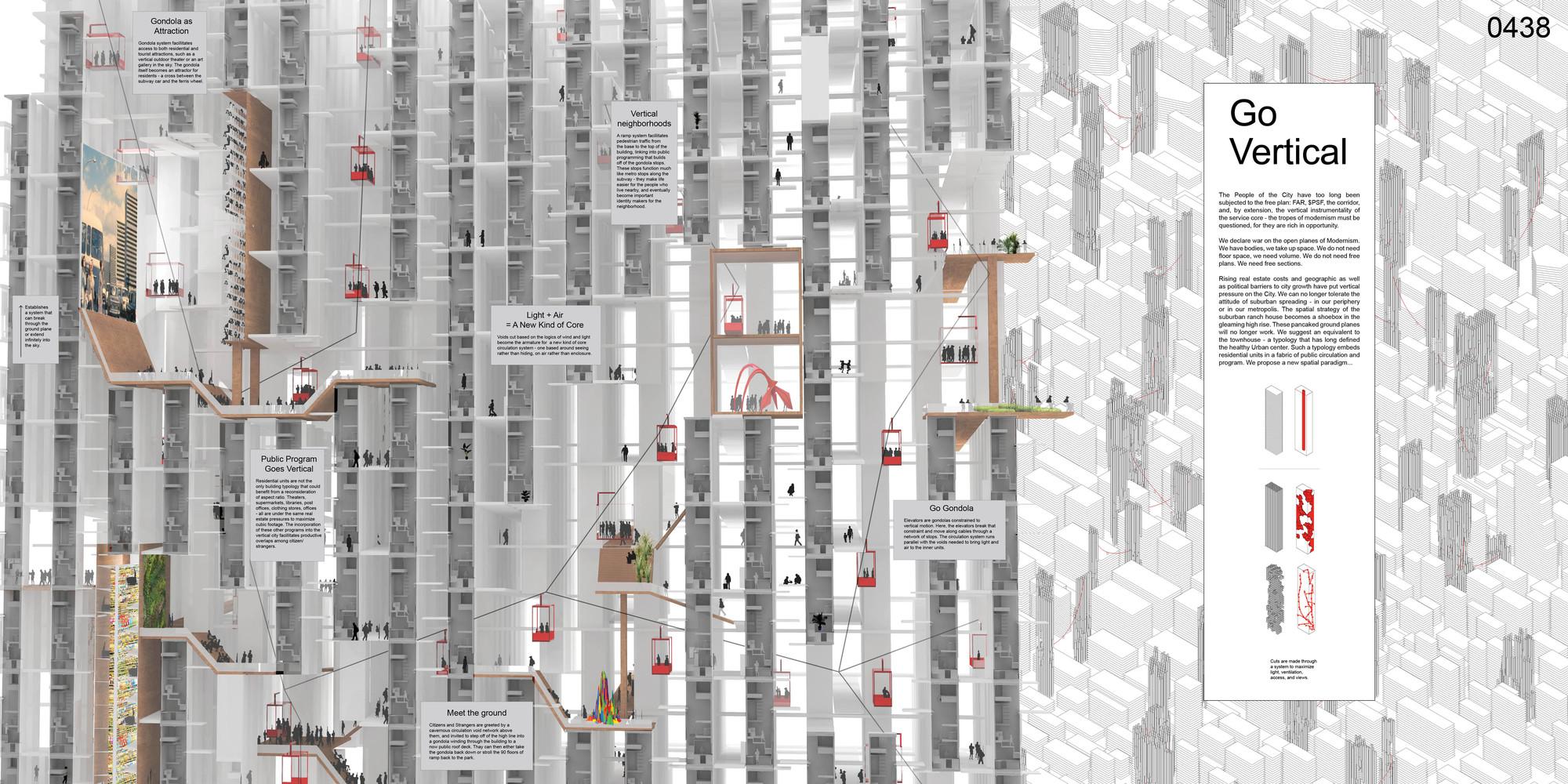 Go Vertical: A City Designed for Volume / Margaret Rew, Taylor Hewett, Karilyn Johannesen. Imagen cortesía de eVolo