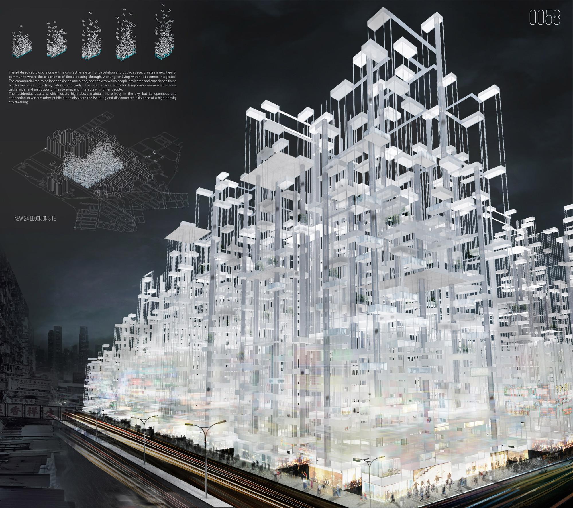 Diffused Boundaries Skyscraper / Satavee Kijsanayotin, Ben Novacinski, Hannah Mayer, Haydar Baydoun, Mingxi Ye, Zhifei Chen. Imagen cortesía de eVolo