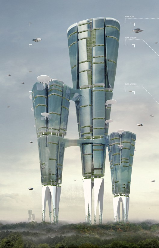Land Liberator Skyscraper / Ming Liu, Chen Chen, Chao Nie, Hua Deng, Yinhan Zhou. Imagen cortesía de eVolo