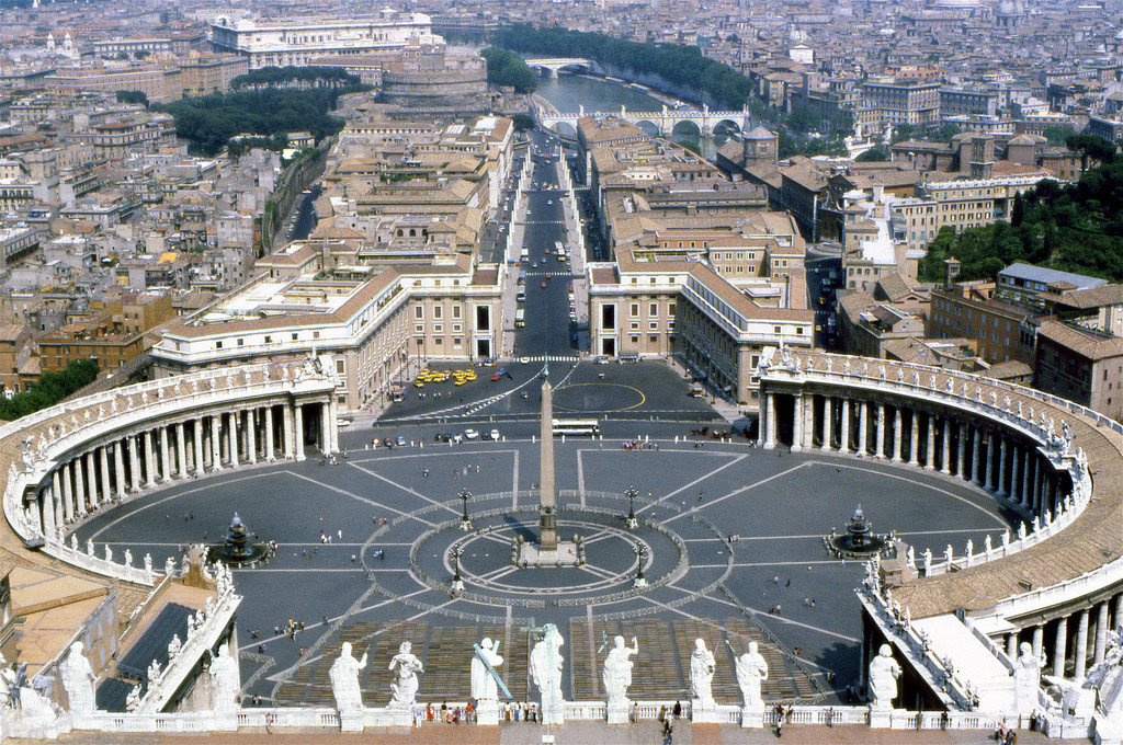 "View from St Peter's Basilica, Vatican City. ""Strong centers are formed when a substantial region of space is tied together coherently"" . Image © Flickr CC user Michael Seljos"
