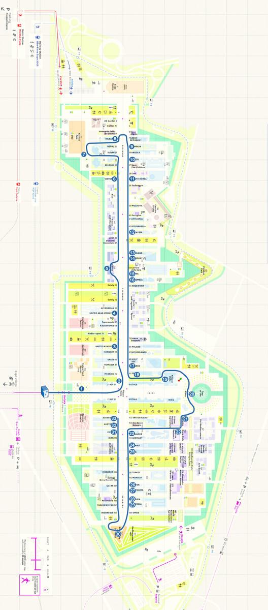 Mapa mostrando nuestra ruta a partir de la entrada sur (centro izquierda de la imagen). Haga clic para ver tamaño completo. Imagen a través del Sitio web de la Expo Milán con anotaciones adicionales por ArchDaily