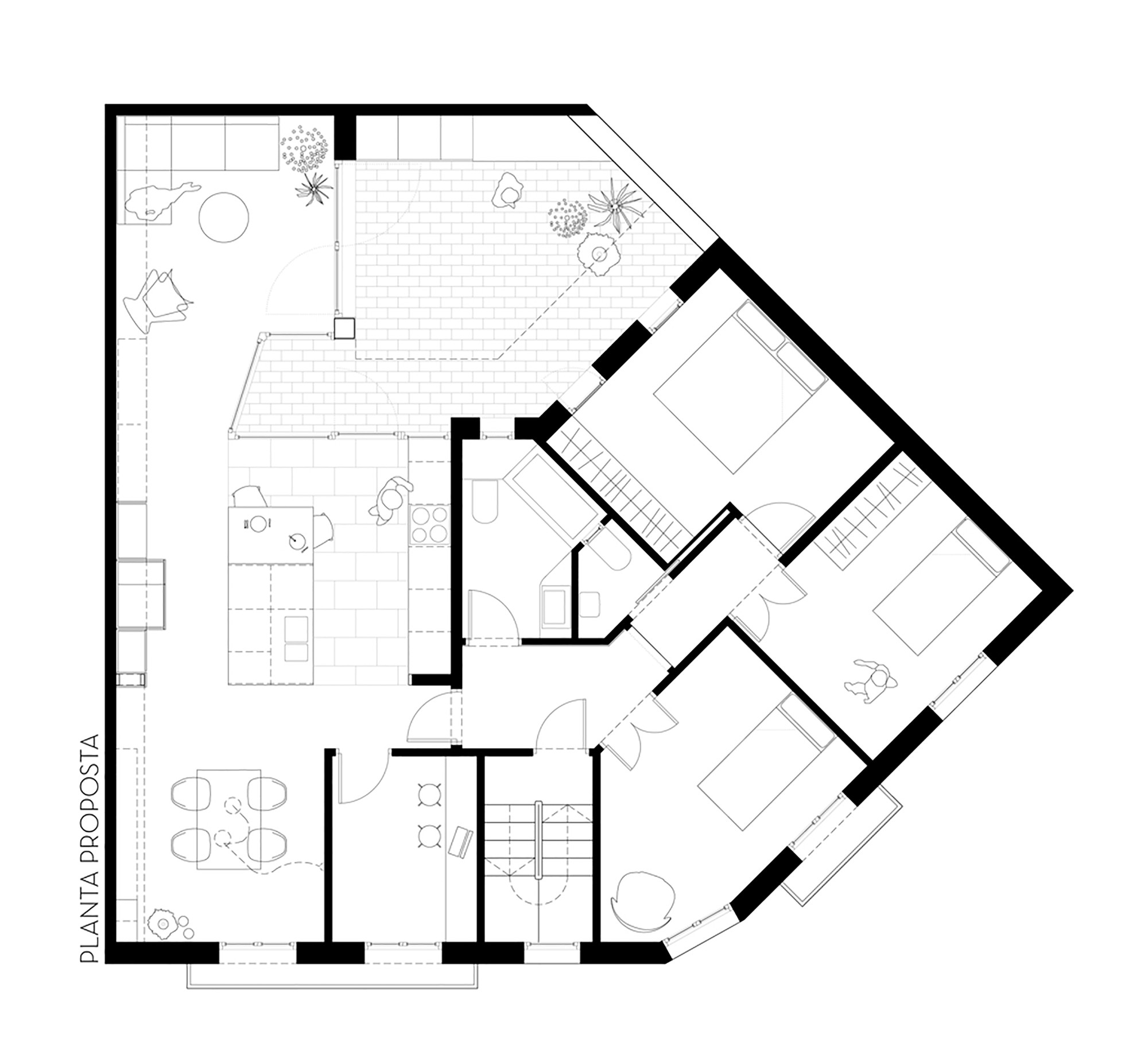 Gallery of apartment and courtyard in barcelona cavaa for Apartment plans with courtyard