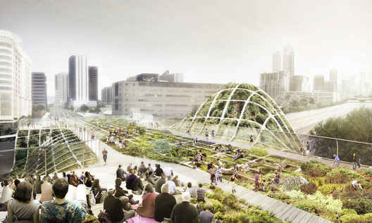 "Finalist A: ""Green City Spectator"" at Midtown's 10th Street Bridge . Image Courtesy of Atlanta Bridgescape Competition"