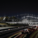 "Finalist C: ""Illuminated Gateway"" at Midtown's 10th Street Bridge . Image Courtesy of Atlanta Bridgescape Competition"