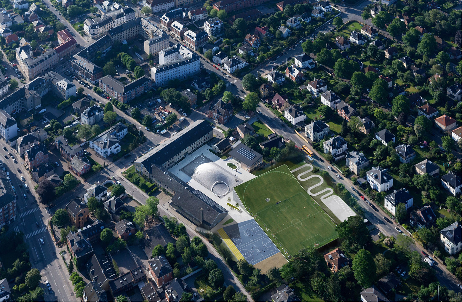 Expansión de Deportes y Artes en la Secundaria Gammel Hellerup / BIG, © Iwan Baan