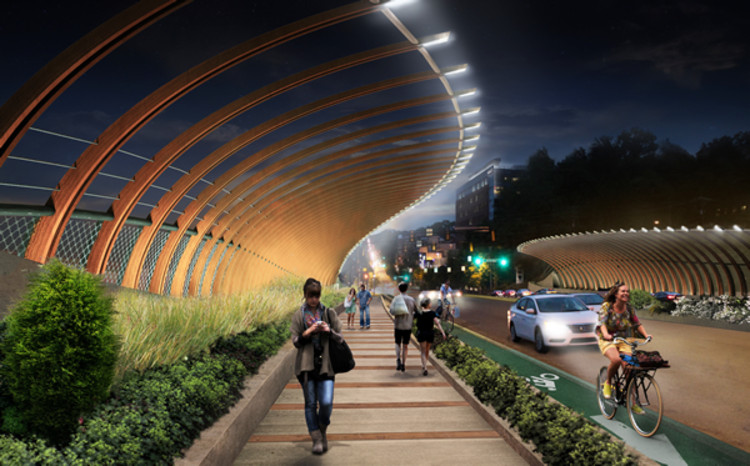"Atlanta Bridgescape Competition Winners Announced, ""(SIN)UOSITY"" at Midtown's 10th Street Bridge. Image Courtesy of Atlanta Bridgescape Competition"