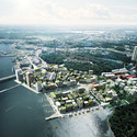 ADEPT and Mandaworks Design Masterplan for Stockholm's Royal Seaport Birdseye view. Image Courtesy of ADEPT/Mandaworks