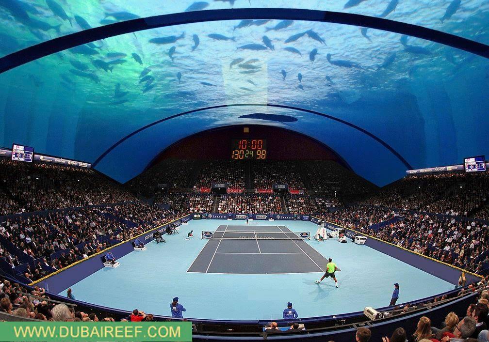 Una cancha de tenis submarina en Dubai, por 8+8 Concept Studio, © 8+8 Concept Studio