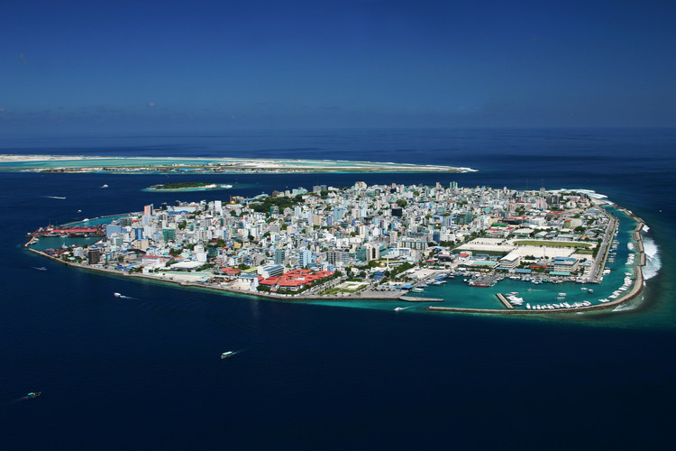 An aerial view of the current island-capital, Malé. Image © Shahee Ilyas