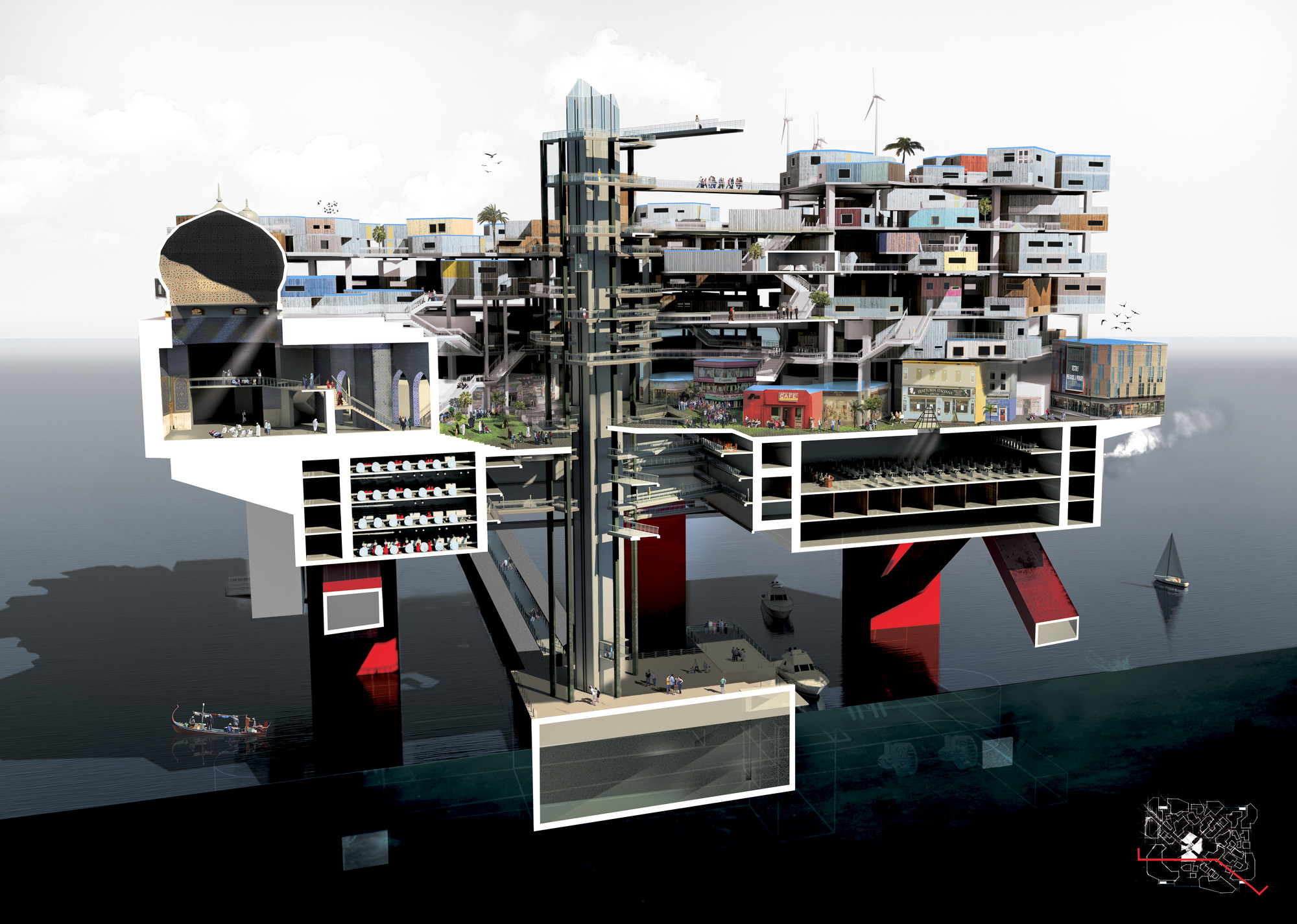 A cutaway section of the proposed oil rig structure. Image © Mayank Thammalla