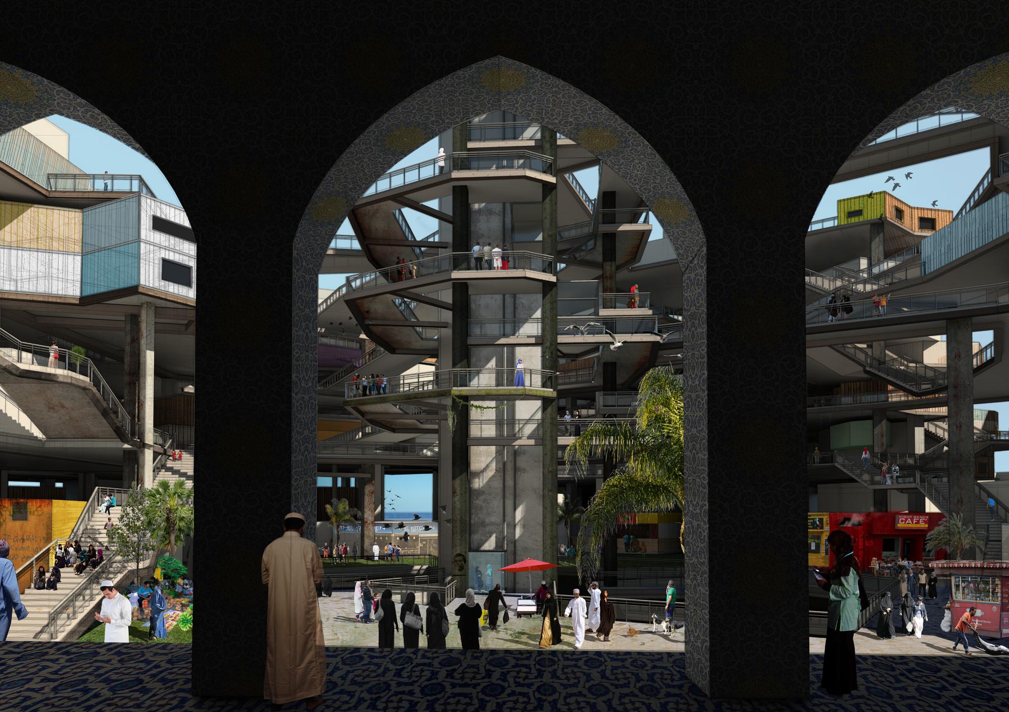 Un render de la propuesta desde una mezquita. Imagen © Mayank Thammalla