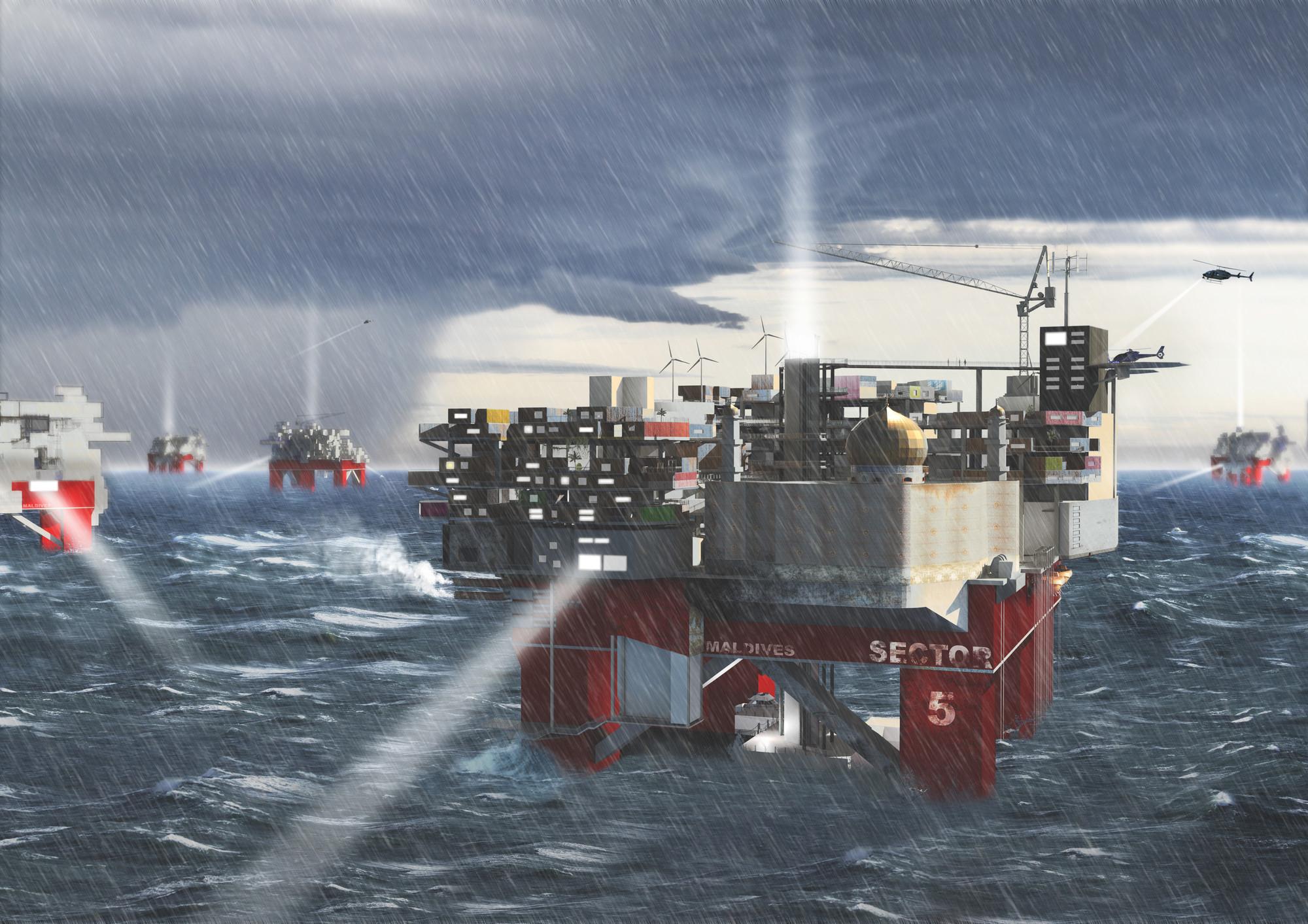 Un render de la propuesta durante una tormenta. Imagen © Mayank Thammalla