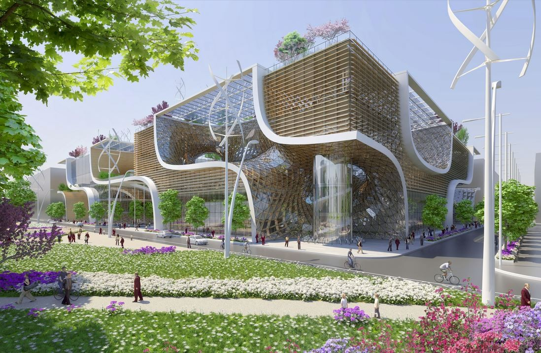 Vincent callebaut proposes wooden orchids green shopping for Plan maison facade