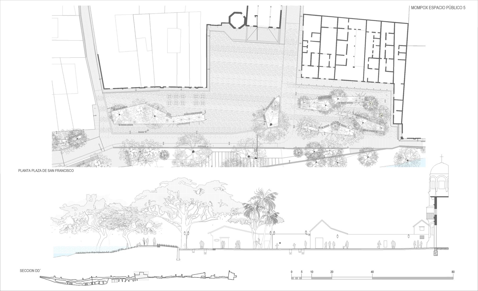 Planta Plaza de San Francisco / Sección