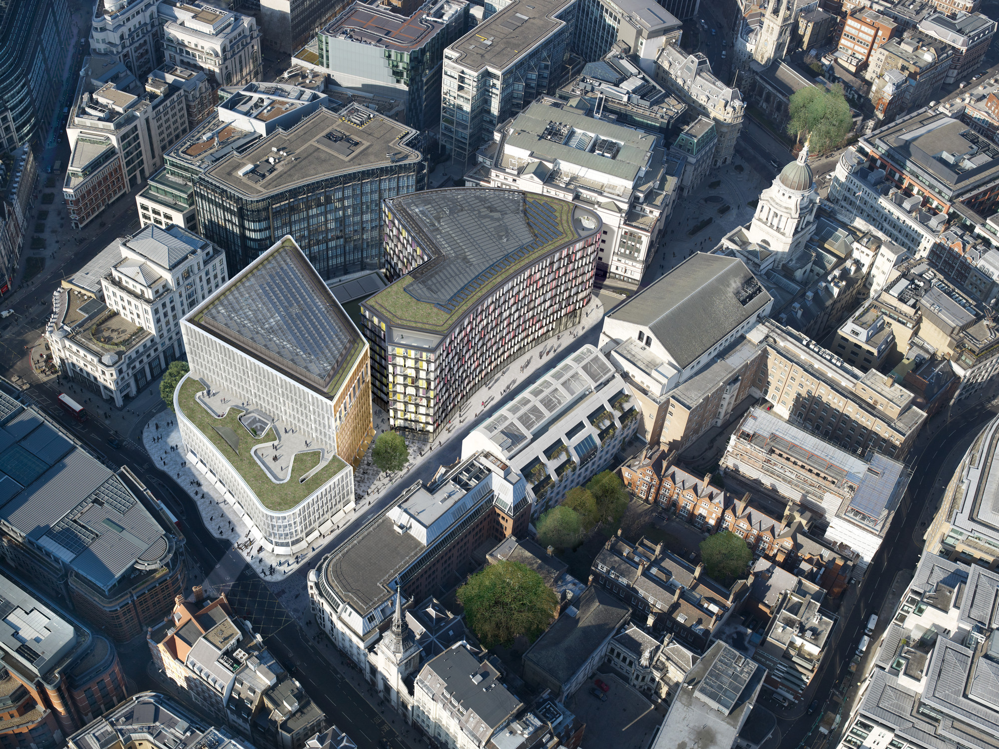 New Ludgate, aerial view. Image Courtesy of Fletcher Priest Architects, Sauerbruch Hutton Architects