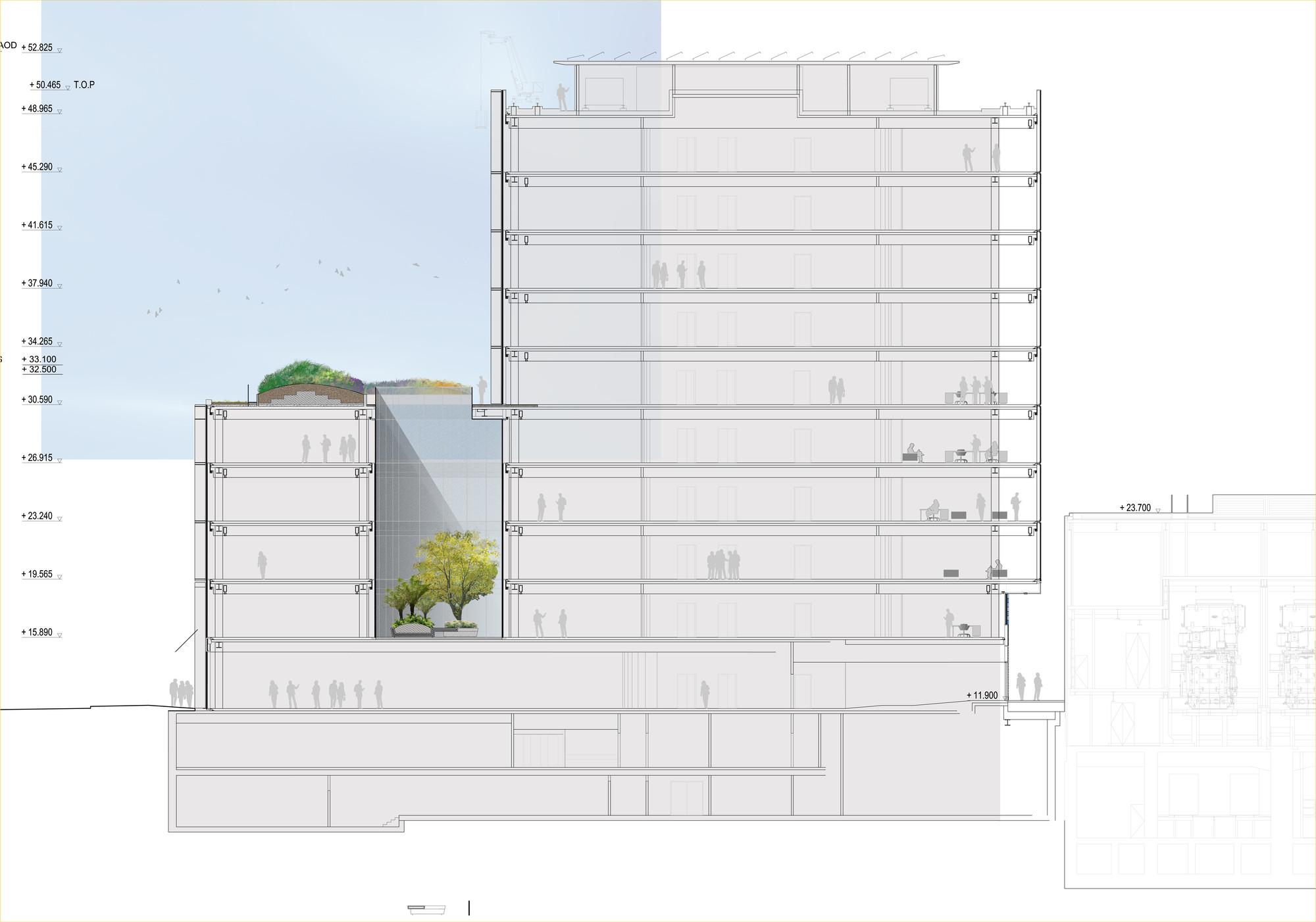 One New Ludgate,  secion © Fletcher Priest Architects