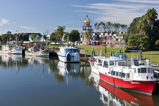 A representation of the Hundertwasser Art Center in Whangarei's Town Basin. Image © Wikimedia CC User Steve Sharp