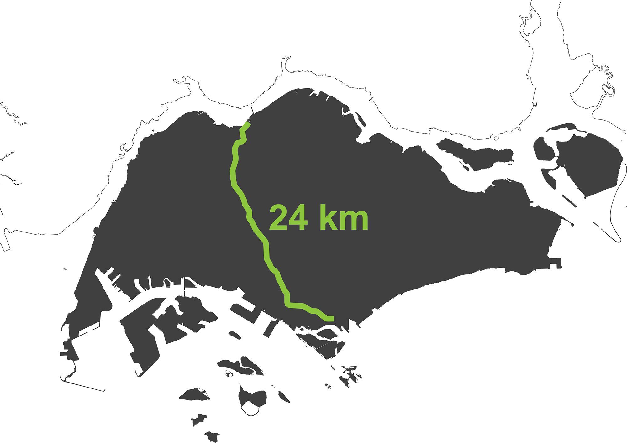 Mapa del Singapore Rail Corridor. Imagen cortesía de OMA