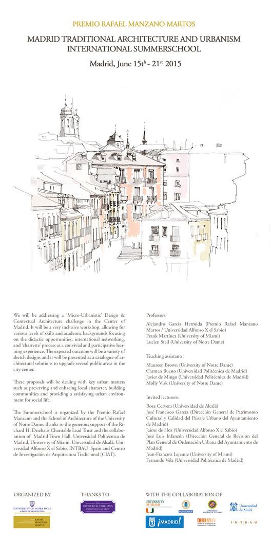Madrid Traditional Architecture and Urbanism Summerschool 2015, escuela internacional y gratuita de verano