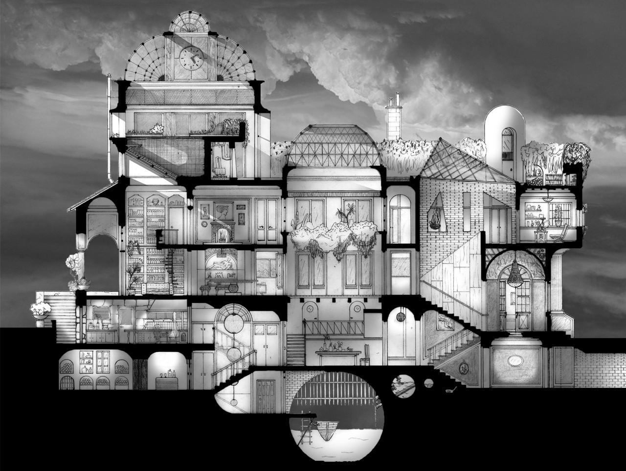 Arte y Arquitectura: dibujos arquitectónicos que evidencian el espacio del Eje Z, Casa Cúpulas. Image Cortesia de Santiago Nicolás Lovecchio