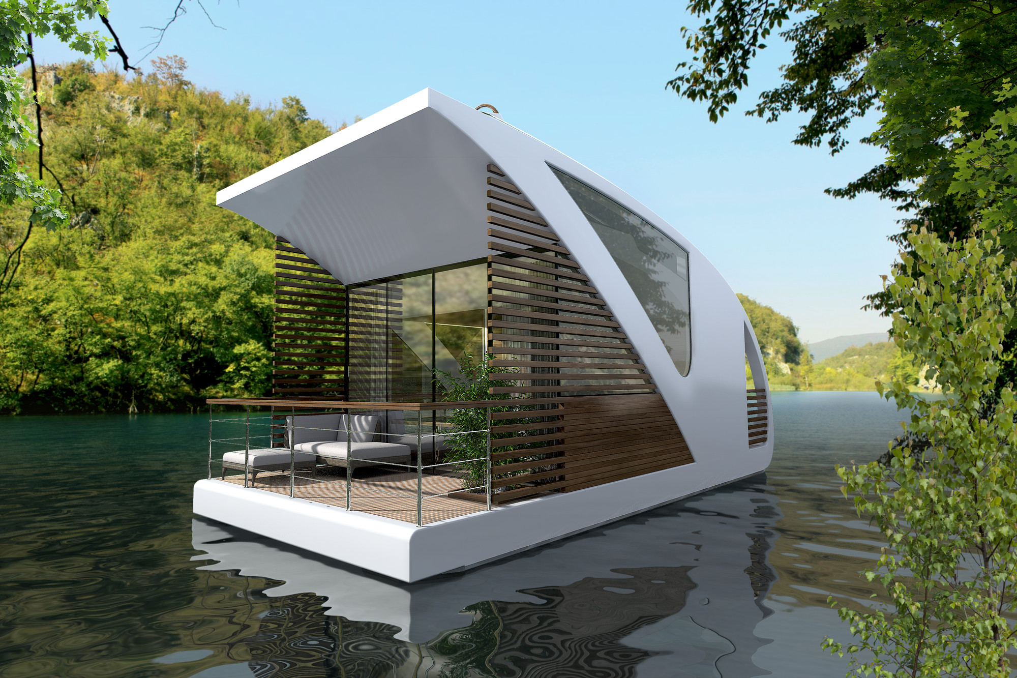 Salt water design floating hotel with catamaran for Hotel apartment design
