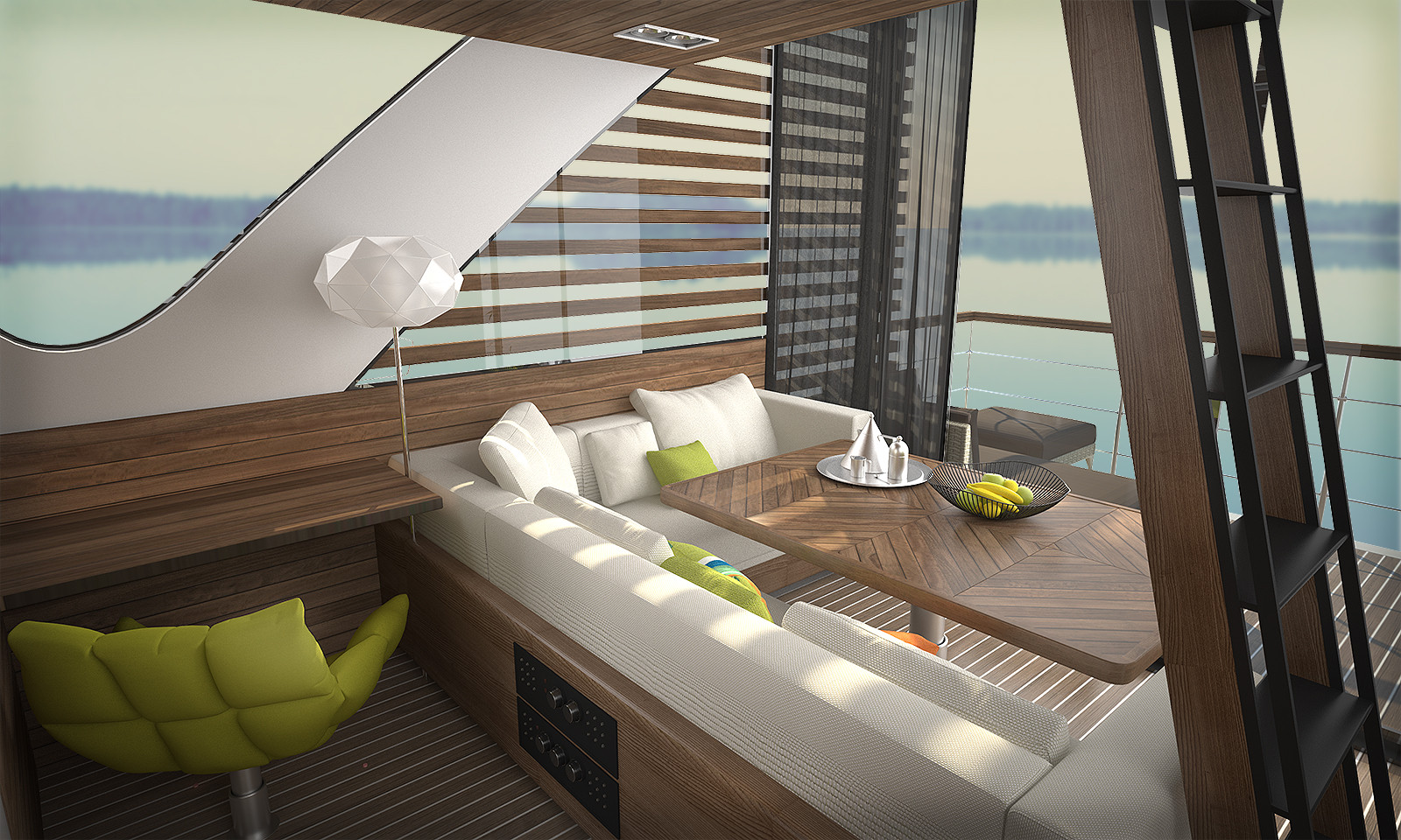 Catamaran Interior View. Image Courtesy of Salt & Water Design Studio