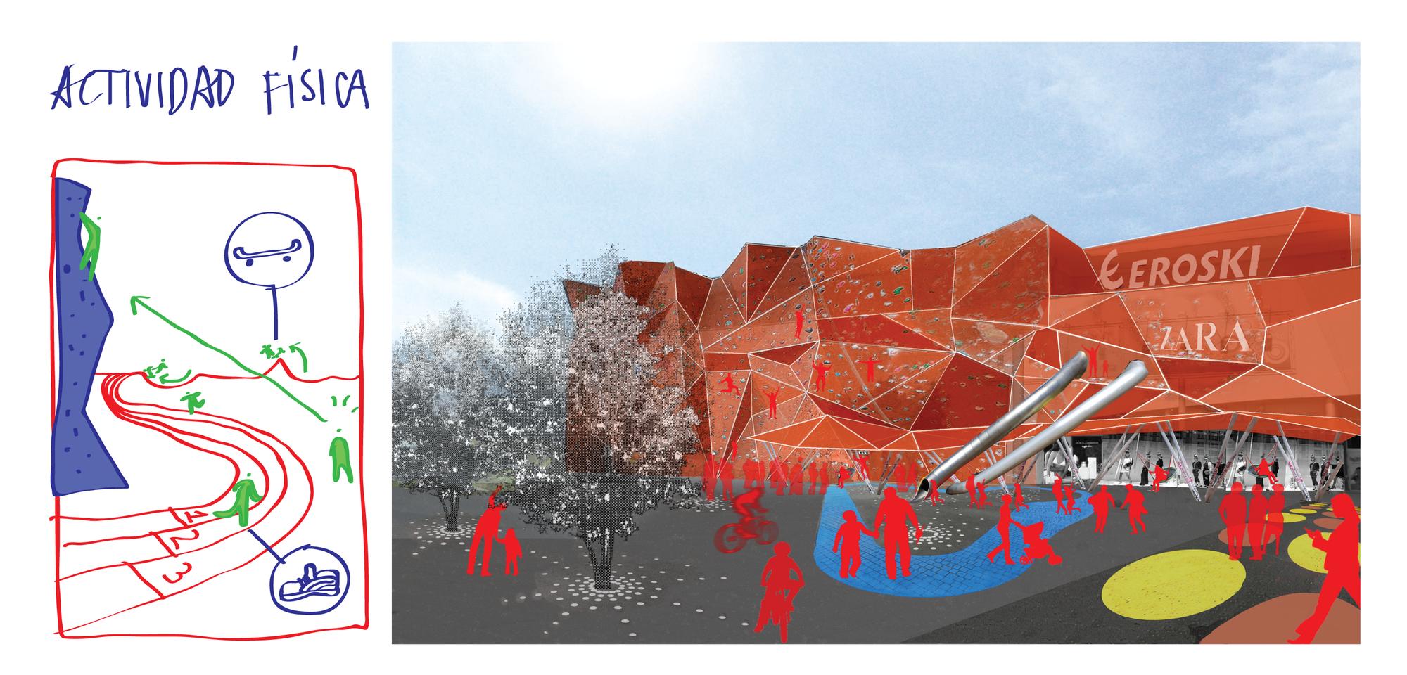 Introducción de actividad física-deportiva en el espacio comercial.. Image Cortesia de Ecosistema Urbano