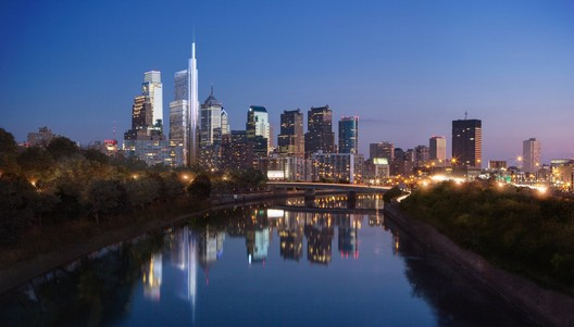 Philadelphia skyline featuring 1,121-Foot Comcast Tower (rendering). Image © dbox, Foster + Partners