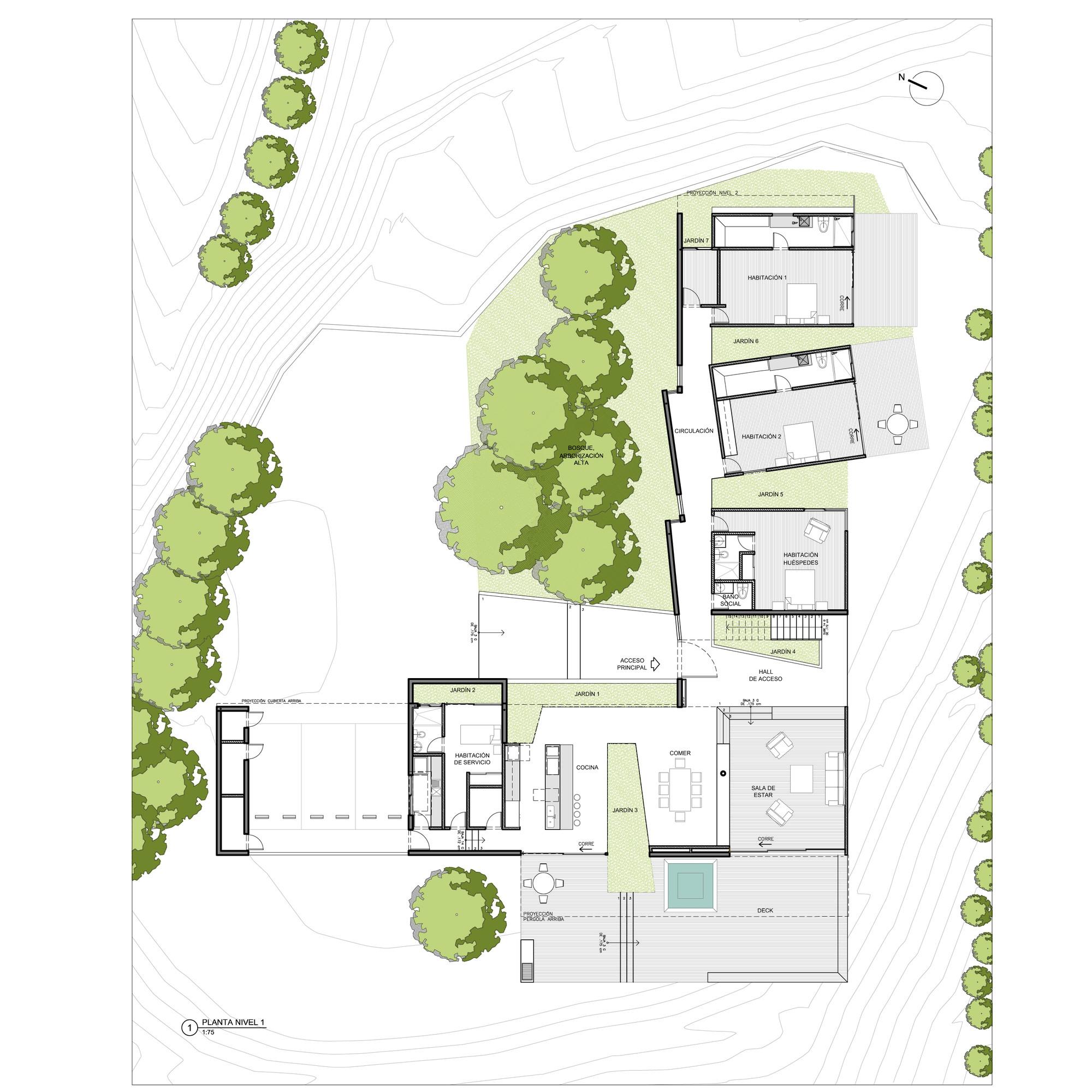 Galeria de casa entre jardins planta baja estudio de - Casas de planta baja ...